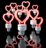 Grupa kolorowe fluorescencyjne lampy, kierowy kształtny, czerwieni łuna, 3d rendering na ciemnym tle royalty ilustracja