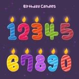 Grupa Kolorowe liczba urodziny świeczki royalty ilustracja