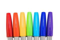Grupa kolorowy markiera pióro na białym tle Fotografia Stock