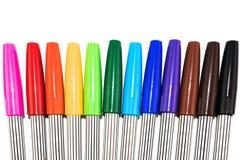 Grupa kolorowy markiera pióro na białym tle Zdjęcia Royalty Free