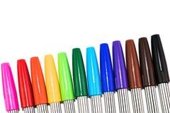 Grupa kolorowy markiera pióro na białym tle Obrazy Stock