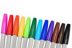 Grupa kolorowy markiera pióro na białym tle Obraz Stock