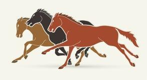 Grupa konie biega kresk?wki grafik? ilustracja wektor