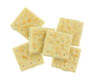 Grupa kremowego sera i szczypiorków krakers na białym tle Obraz Stock