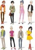 Grupa kreskówek młodzi ludzie royalty ilustracja