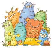 Grupa kreskówka Kolorowi potwory ilustracji