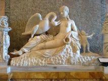 Grupa Leda z łabędź Eros i, bielu marmur borghese willa rome obrazy stock