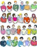 Grupa ludzi bezszwowy wzór, szkicowy styl, graficzna ilustracja Zdjęcie Stock