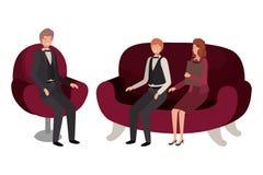 Grupa ludzi biznesowy obsiadanie w krzesła avatar charakterze royalty ilustracja