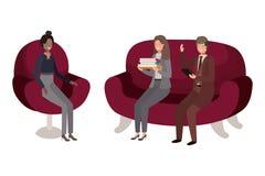 Grupa ludzi biznesowy obsiadanie w krzesła avatar charakterze ilustracja wektor