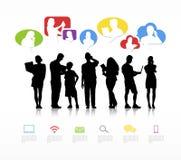 Grupa Ludzi Komunikuje z mowa bąbla pojęciem royalty ilustracja