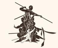 Grupa Ludzi Kung Fu wojownik, sztuka samoobrony z broni akcji kresk?wki grafik? royalty ilustracja