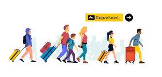 Grupa Ludzi Podróżuje Wraz z bagażem Przy lotniskiem ilustracji