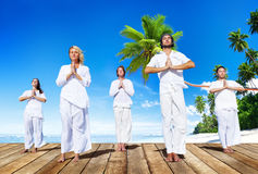 Grupa Ludzi Robi medytaci z naturą Zdjęcia Royalty Free