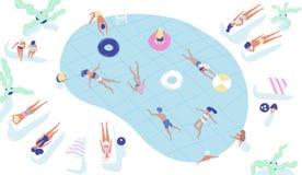 Grupa ludzi ubierał w swimwear dopłynięciu w basenie lub łgarskim puszku na sunloungers i sunbathing ludzie nieba niebieskie tło  ilustracji