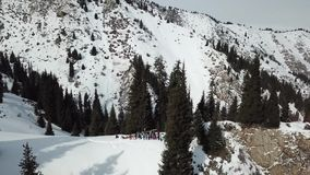 Grupa ludzi w góry fala odjeżdżanie truteń zbiory
