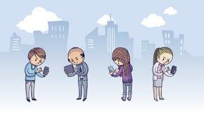 Grupa ludzi z mądrze telefonami royalty ilustracja