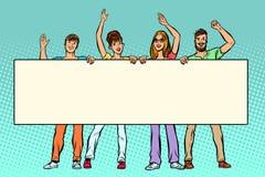 Grupa ludzi z sztandarem ilustracja wektor