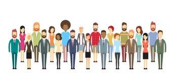 Grupa ludzie biznesu Dużych tłumów biznesmenów Miesza Etnicznego ilustracja wektor