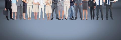 Grupa ludzie biznesu stoi z błękitnym winiety tłem Zdjęcie Royalty Free