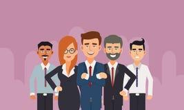 Grupa ludzie biznesu z biznesmena liderem w przodzie ilustracji