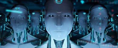 Grupa męscy roboty po lidera cyborga wojska 3d rendering royalty ilustracja