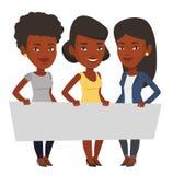Grupa młode kobiety trzyma puste miejsce deskę royalty ilustracja