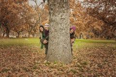 Grupa młodzi ludzie chujący za drzewem Jesień krajobraz Zdjęcie Royalty Free