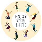 Grupa młodzi ludzie cieszy się życie wektor Ilustracji