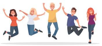 Grupa młodzi ludzie skacze na białym tle ilustracji