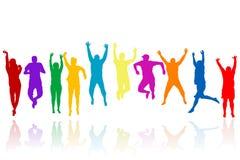 Grupa młodzi ludzie sylwetek target1046_1_ Zdjęcia Stock