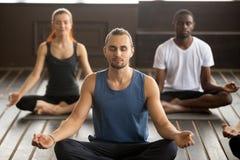 Grupa młodzi sporty ludzie siedzi w Sukhasana ćwiczeniu Zdjęcie Stock