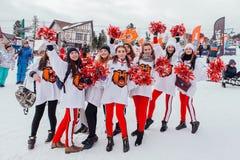 Grupa młodzi szczęśliwi cheerleaders Obrazy Royalty Free
