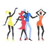 Grupa młodzi tanów ludzie Kolorowa partyjna wektorowa ilustracja ilustracja wektor