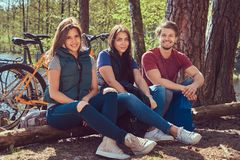 Grupa m?odzi przyjaciele wycieczkuje przez lasu z rowerami na pi?knym letnim dniu zdjęcie stock
