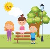 Grupa małe dzieci w parkowych charakterach royalty ilustracja