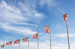 Grupa macha na słonecznym dniu flagi amerykańskie zdjęcie royalty free