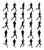 Grupa maratonów setkarzów biegać Maratońscy ludzie wektor sylwetki Miastowi biegacze na ulicie Fotografia Stock