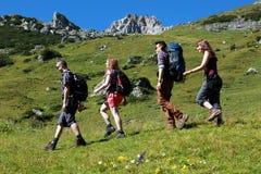 Grupa młodzi wycieczkowicze Fotografia Stock