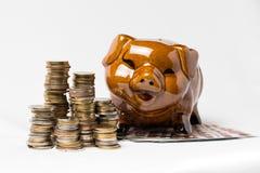 Grupa moneta na bielu z prosiątko bankiem fotografia royalty free