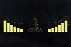 Grupa monety z wykresami od negatywu pozytywnego przyrosta resu Fotografia Stock
