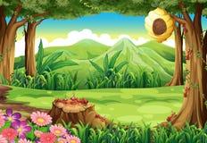 Grupa mrówki i ul przy lasem ilustracji