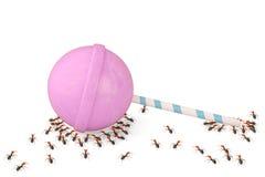 Grupa mrówki z lizakami ilustracja 3 d Zdjęcia Royalty Free