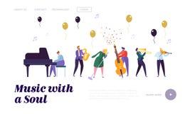 Grupa muzyków artyści, Popularny Jazzowego zespołu spełnianie na scenie z Różnorodnymi instrumentami muzycznymi na hali koncertow ilustracji