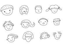 Grupa nakreślenie twarzy setu ludzie ilustracja wektor