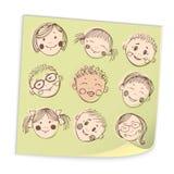 Grupa nakreślenie dzieciaków twarzy set Zdjęcia Royalty Free