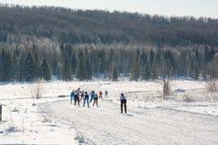 Grupa narciarki obruszenie od góry Narciarka ono ślizgać się na górze Narciarka i narty Obrazy Stock