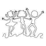 Grupa nastolatkowie w skoku royalty ilustracja