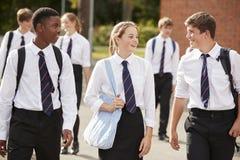 Grupa Nastoletni ucznie W Jednolitych Outside budynkach szkoły zdjęcia stock