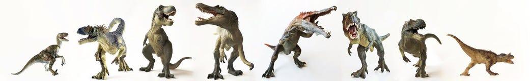 Grupa Ośmiu dinosaury z rzędu zdjęcie stock